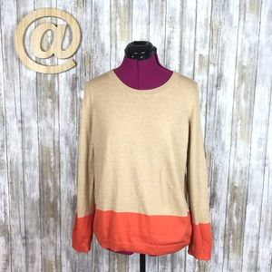 Talbots Colorblock Sweater tan and orange LS L